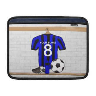 Personalised Black and blue football soccer Jersey MacBook Sleeve