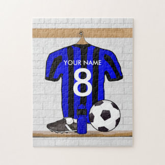 Personalised Black and blue football soccer Jersey Puzzles