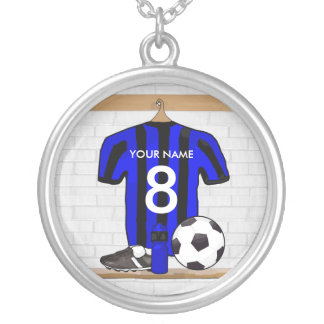Personalised Black and blue football soccer Jersey Silver Plated Necklace