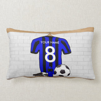 Personalised Black and blue football soccer Jersey Throw Pillow