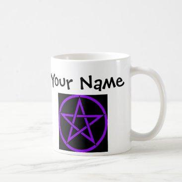 Halloween Themed Personalised Black and Purple Pentacle Wiccan Mug