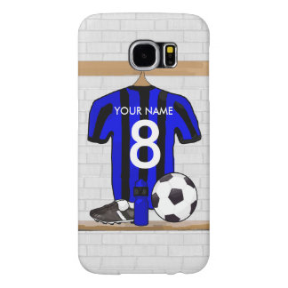Personalised Black Blue Football Soccer Jersey Samsung Galaxy S6 Case