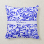 Personalised Blue oriental Bird and leaves pattern Pillows