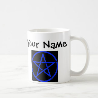 Personalised Blue Pentagram/ Pentacle Wiccan Mug