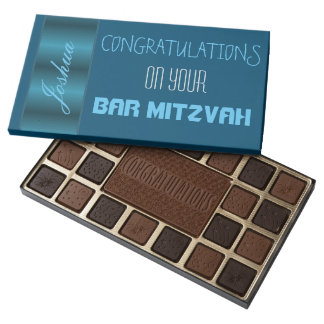 Personalised Blue Satin Bar Mitzvah Assorted Chocolates