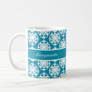 Personalised Bondi Blue with White Damask Coffee Mug
