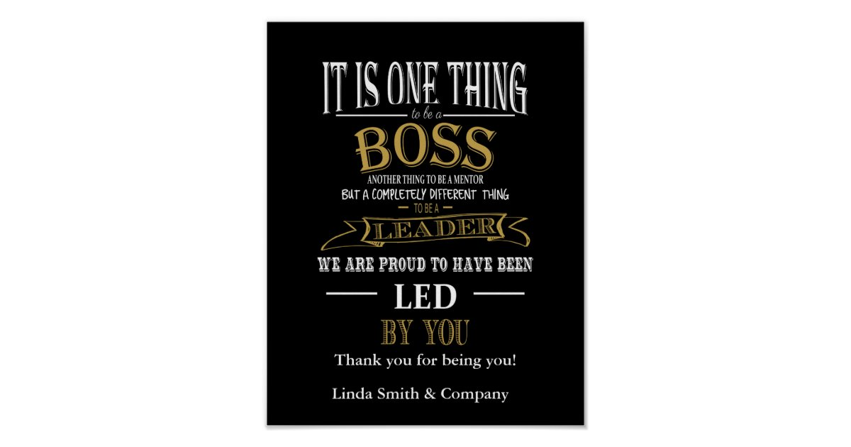 Personalised Boss Day Poster Print Zazzle Com