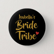Personalised Bride Tribe Red Heart Button