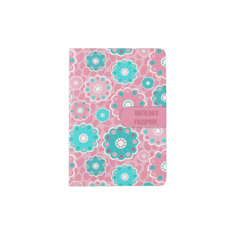 Personalised bright floral design in pink and aqua passport holder