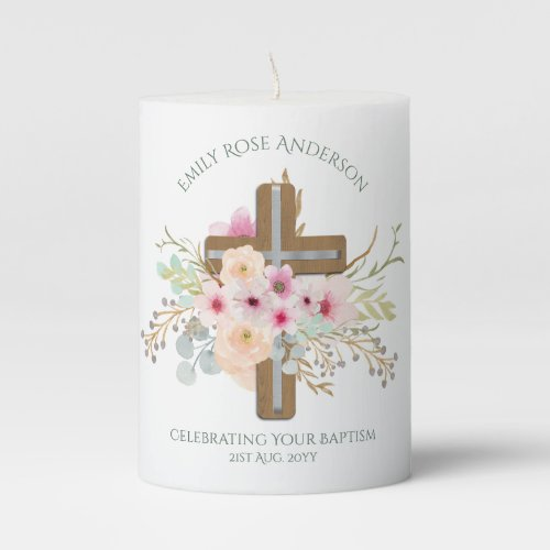 Personalised Christening Baptism Communion Floral Pillar Candle