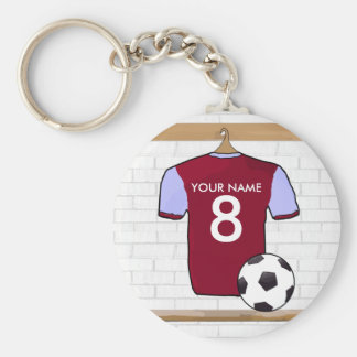 Personalised Claret Blue Football Soccer Jersey Key Chains