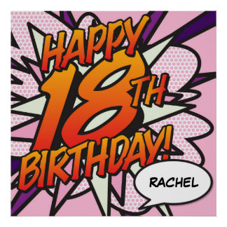 Personalised Comic Book HAPPY 18TH BIRTHDAY Poster