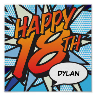 Personalised Comic Book HAPPY 18TH Poster