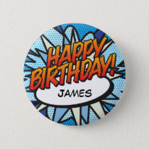 Personalised Comic Book Pop Art HAPPY BIRTHDAY! Button