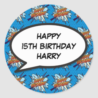 Personalised Comic Book Pop Art HAPPY BIRTHDAY Classic Round Sticker