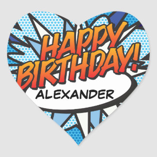 Personalised Comic Book Pop Art HAPPY BIRTHDAY Heart Sticker