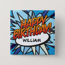 Personalised Comic Book Pop Art HAPPY BIRTHDAY! Pinback Button