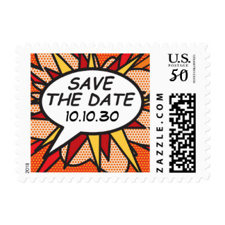 Personalised Comic Book Pop Art SAVE THE DATE Postage