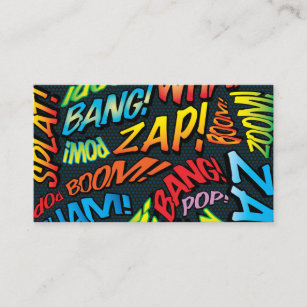 Personalised Comic Book Pop Art Sounds Business Card