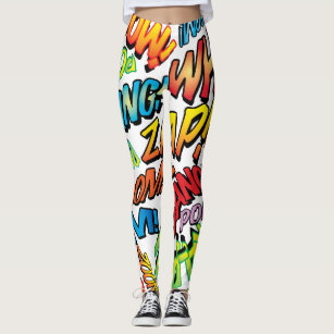 25ea8fd04733bd PERSONALISED COMIC BOOK POP ART SOUNDS LEGGINGS
