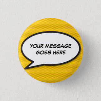 Personalised Comic Book Pop Art Speech Bubble Button