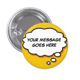 Personalised Comic Book Pop Art Think Bubble Button