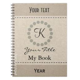 Personalised Cool Monogram  Linen Look Notebook