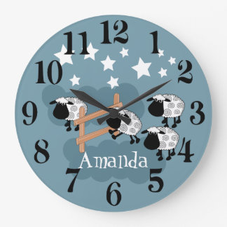 Personalised counting sheep large clock