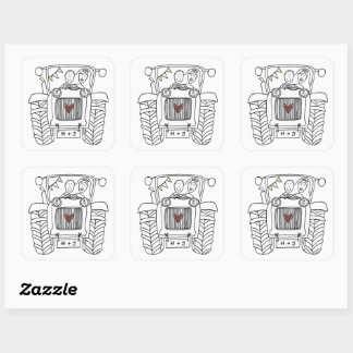 Personalised Country Wedding Tractor Sticker