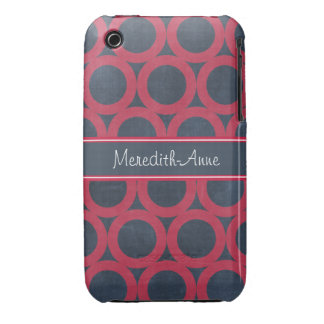 Personalised Crimson and Blue Circles Pattern Case-Mate iPhone 3 Cases
