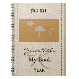 Personalised Cute Heart Rain Baby Kids Monogrammed Notebook