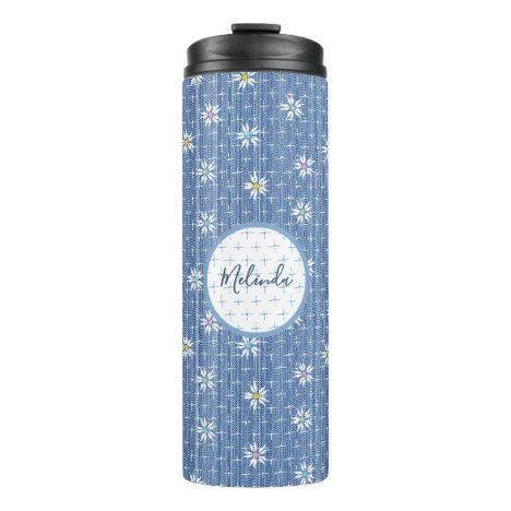 Personalised cute light blue faded denim floral thermal tumbler