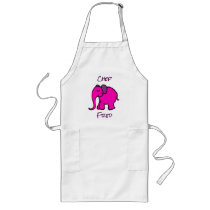 Personalised Cute Pink Cartoon Elephant Chef's Long Apron