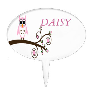 Personalised Cute Pink Owl On Tree Branch Cake Topper