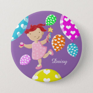 Personalised Daisy Cupcake Balloons And Wand Pinback Button