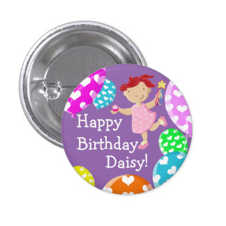 Personalised Daisy Cupcake Balloons Happy Birthday Pinback Button