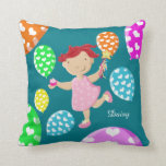 Personalised Daisy Cupcake Heart Balloons Kids Pillow