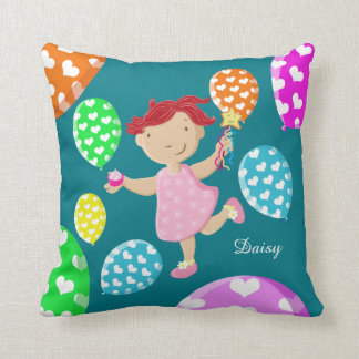 Personalised Daisy Cupcake Heart Balloons Kids Throw Pillow