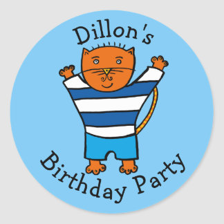 Personalised Dillon the Cat Birthday Party Classic Round Sticker