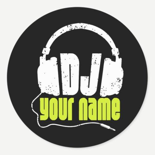 Personalised Dj Any Name Club Disc Jockey Music Dj Classic Round Sticker
