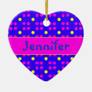 Personalised dotting pattern ceramic ornament