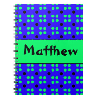 Personalised dotting pattern spiral note book