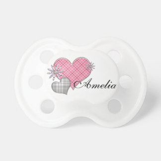 Personalised dummy with hearts n flowers BooginHead pacifier