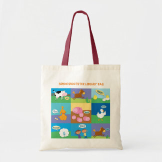 Personalised farm animals library tote bag