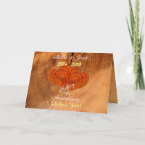 Personalised Faux Wooden 5th Wedding Anniversary Card