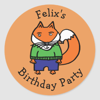 Personalised Felix the Fox Birthday Party Classic Round Sticker