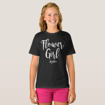 Personalised Flower Girl T-shirt White calligraphy