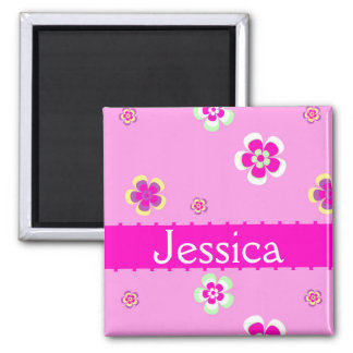 Personalised flowers pattern with name 2 inch square magnet