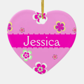 Personalised flowers pattern with name ceramic ornament