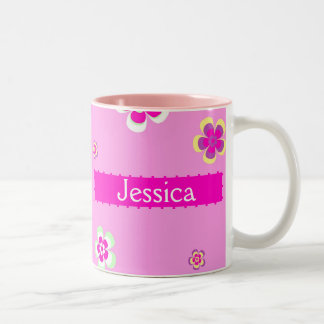 Personalised flowers pattern with name Two-Tone coffee mug